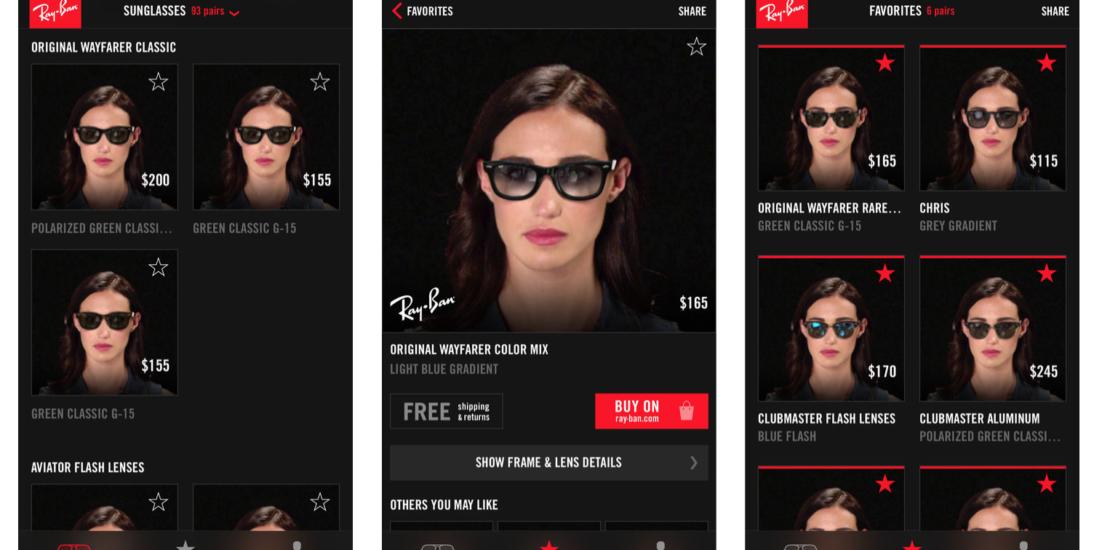با نرم افزار عینک شرکت ری بن انواع عینک را بر روی چشمان خود امتحان کنید